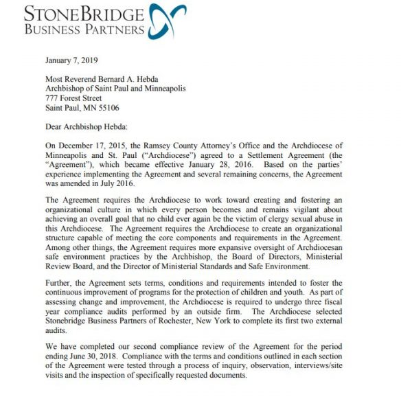 Executive Summary: Second External Audit of the Ramsey County/Archdiocese Settlement Agreement