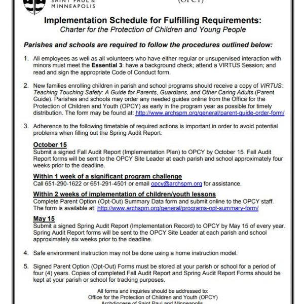 Implementation Schedule for Fulfilling Charter Requirements: Charter for the Protection of Children and Youth